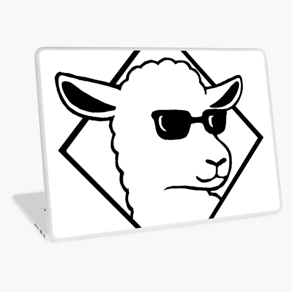 Sunglasses sheep black and white clipart svg free Sheep with sunglasses Cool sheep | Laptop Skin svg free