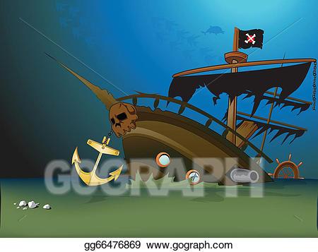 Vector clipart sunken ship clip art freeuse stock Vector Clipart - Pirate ship sunk underwater. Vector ... clip art freeuse stock