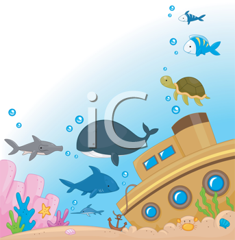 Sunk clipart picture free download Royalty Free Clipart Image of a Sunken Ship and Fish #455364 ... picture free download