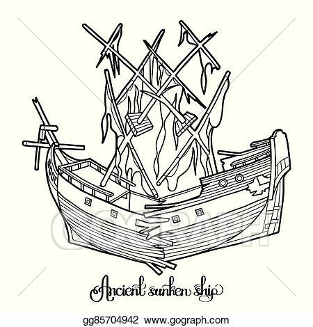Vector clipart sunken ship clip royalty free EPS Illustration - Ancient sunken ship. Vector Clipart ... clip royalty free