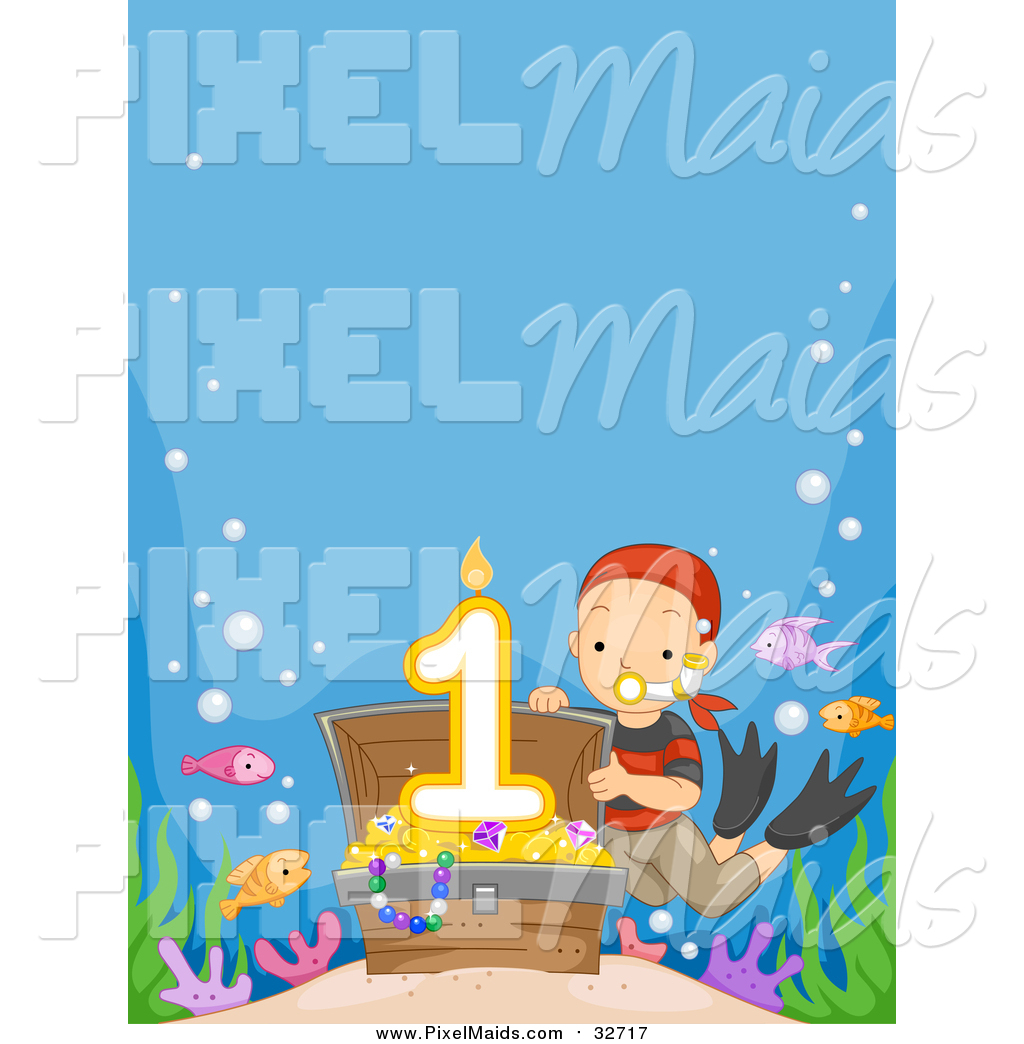 Sunken treasure clipart banner library Clipart of a White Boy Revealing a First Birthday Candle in ... banner library