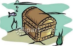Sunken treasure clipart image transparent stock Sunken Treasure Chest - Royalty Free Clipart Picture image transparent stock