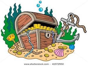 Sunken treasure clipart jpg royalty free Treasure Chest on Sea Bottom with an Anchor Clipart Image jpg royalty free