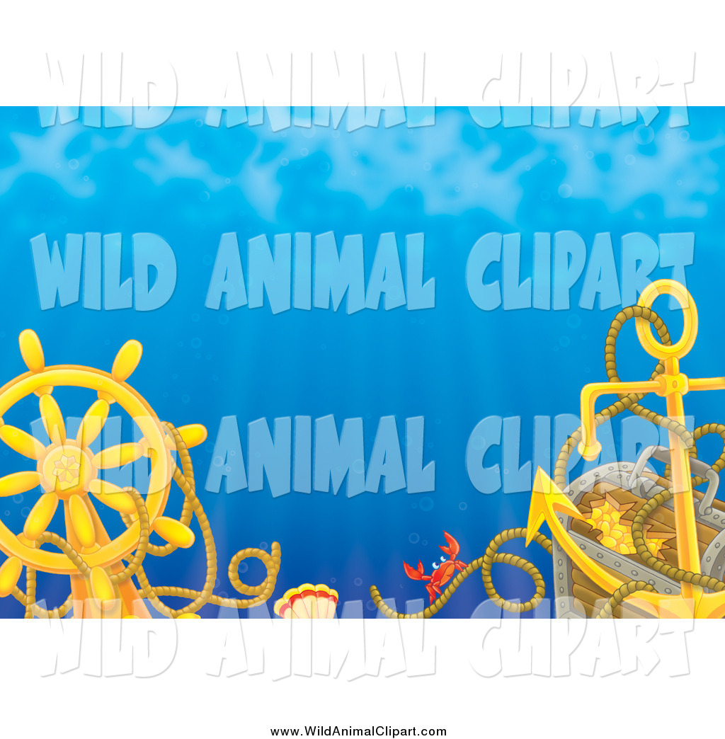 Sunken treasure clipart vector free library Clip Art of a Crab on a Rope by a Sunken Ship\'s Helm, Anchor ... vector free library