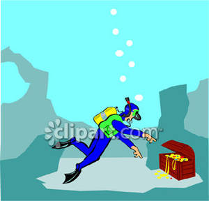 Sunken treasure clipart svg freeuse library A Scuba Diver With a Sunken Treasure Chest - Royalty Free ... svg freeuse library