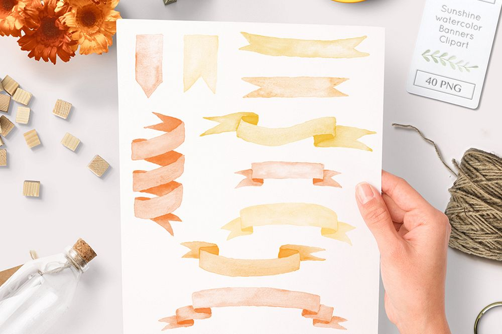 Sunny banners clipart graphic royalty free download watercolor ribbons and banner clipart sunny orange graphics graphic royalty free download