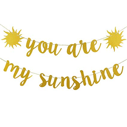 Sunny banners clipart vector black and white download Gold Glittery You Are My Sunshine Banner for Wedding Baby Shower Kid\'s  Birthday Party Decoration Supplies vector black and white download