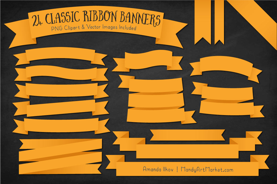 Sunny banners clipart clipart black and white download Classic Ribbon Banner Clipart in Sunshine By Amanda Ilkov ... clipart black and white download