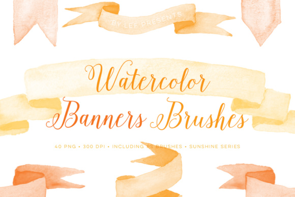 Sunny banners clipart image black and white Watercolor banner brushes and bonus sunny PNG clip art image black and white