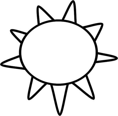 Sunny clipart black and white image transparent download Black and white symbol for sunny sky vector image | Public ... image transparent download