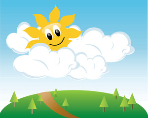 Sunny day with clouds clipart vector black and white Free Sunny Day Clipart Image 0515-1103-1620-5042   Best-of ... vector black and white