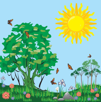 Sunny days clipart vector library stock Clipart picture of a meadow full butterflies on sunny day ... vector library stock