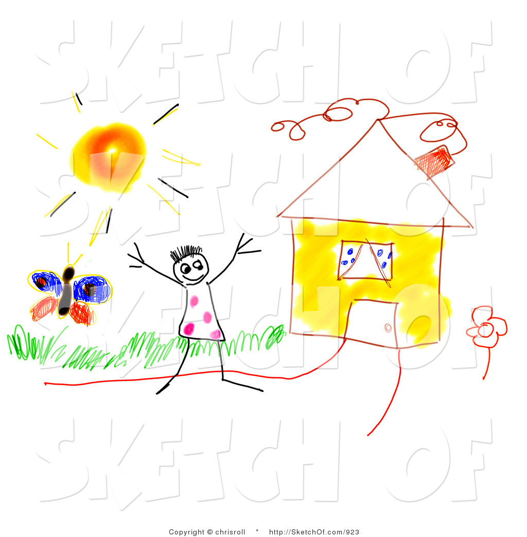 Sunny spring day clipart svg library library Drawing of a Happy Kid on a Sunny Spring Day Beside His ... svg library library