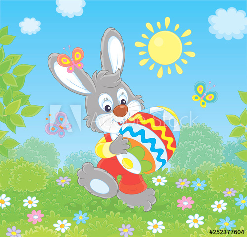 Sunny spring day clipart banner black and white Friendly smiling Easter Bunny with a colorfully decorated ... banner black and white