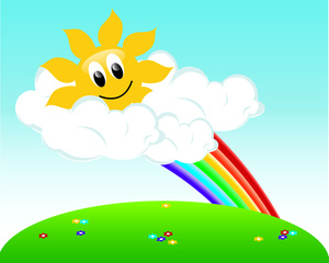Sunny spring day clipart vector transparent download Beautiful Sunny Spring Day with a Few Clouds and a Rainbow ... vector transparent download