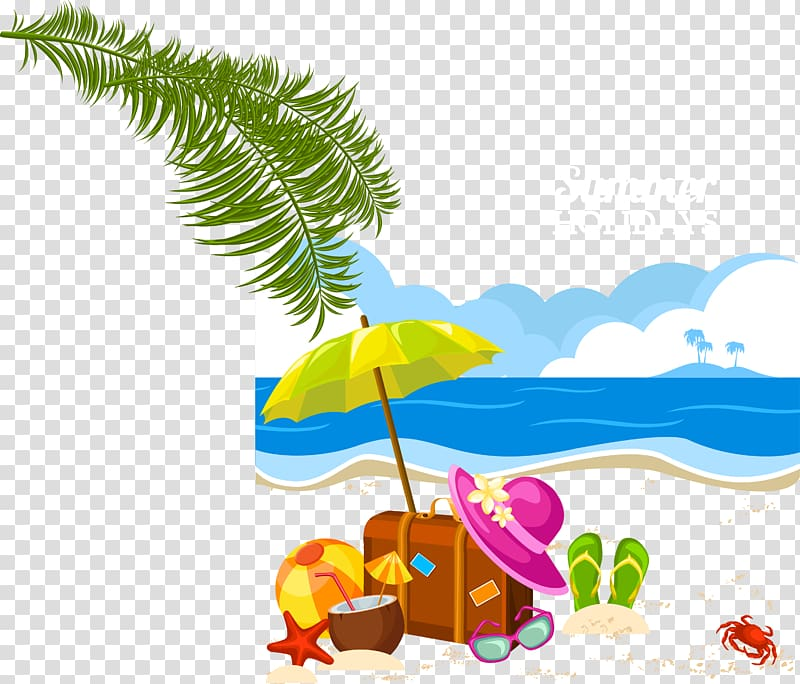 Sunny vacation clipart svg library download Holiday Summer vacation , beach transparent background PNG ... svg library download