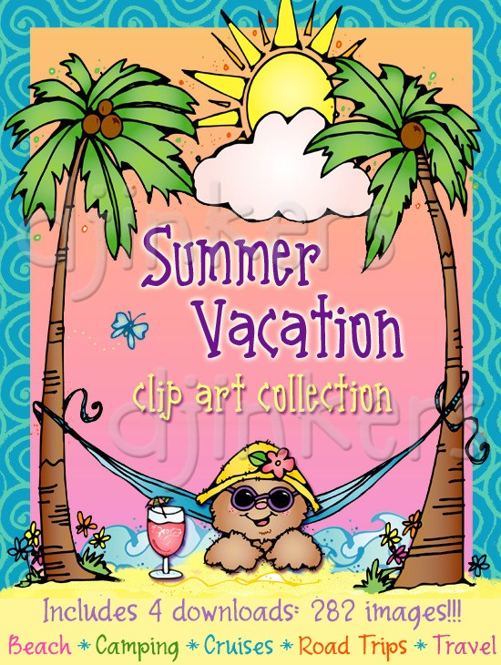 Sunny vacation clipart svg free stock Summer vacation & travel clip art by DJ Inkers - DJ Inkers svg free stock