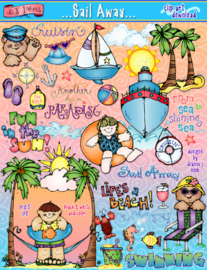 Sunny vacation clipart jpg black and white download Sunny beach vacation clip art created by DJ Inkers - DJ Inkers jpg black and white download