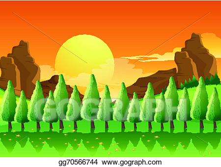 Sunrise with pinetrees clipart vector transparent download Vector Illustration - Pine trees. EPS Clipart gg70566744 ... vector transparent download