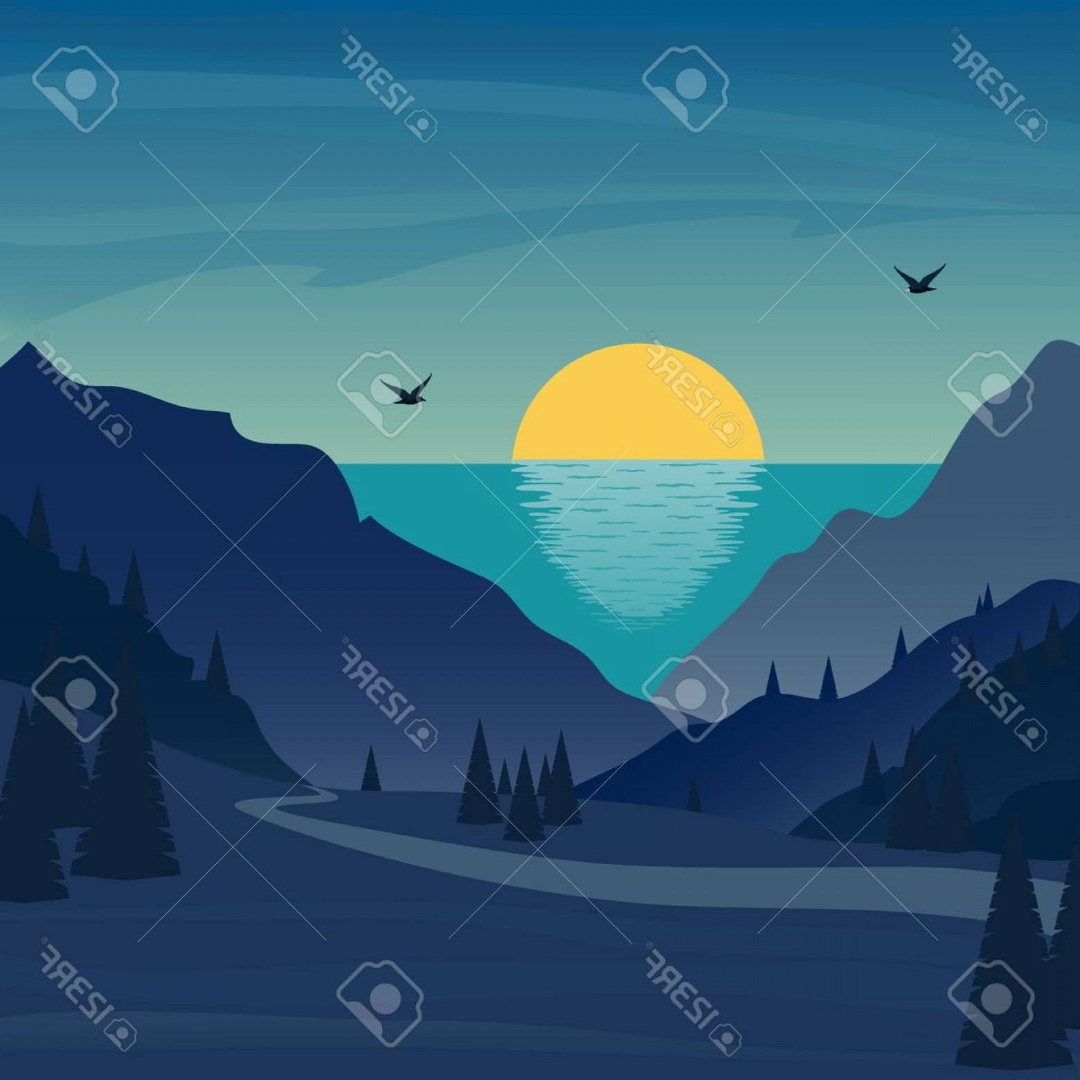 Sunrise with pinetrees clipart picture royalty free Photostock Vector Sunrise Under The Sea In Mountains Trees ... picture royalty free