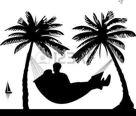 Sunset trees and hammock clipart black and white banner black and white download Stock Vector | Motivation | Beach silhouette, Silhouette ... banner black and white download