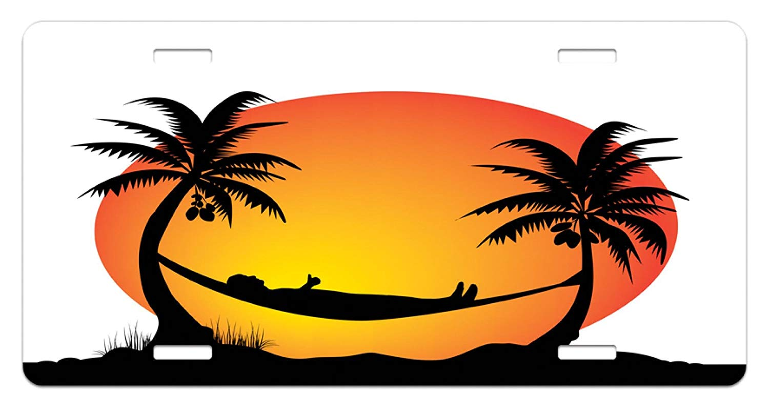 Sunset trees and hammock clipart black and white clipart transparent library Amazon.com: Lunarable Beach Hammock License Plate, Fiery ... clipart transparent library