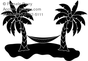 Sunset trees and hammock clipart black and white clip art royalty free library Clip Art Illustration of a Hammock Silhouette clip art royalty free library