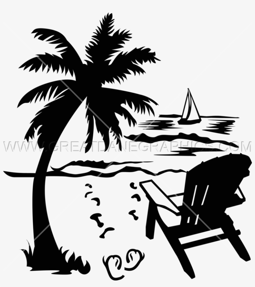 Sunset trees and hammock clipart black and white image royalty free library Palm Tree Clipart Beach Chair - Beach Chair Clipart Black ... image royalty free library