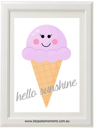 Sunshine and ice cream clipart svg transparent library Hello Sunshine Ice Cream Cone Print svg transparent library