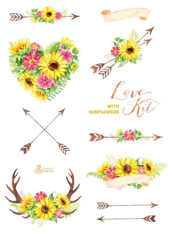 Sunshine flower and arrows doodle border clipart transparent stock Love Kit with Sunflowers. Watercolor flowers Clipart, arrows ... transparent stock