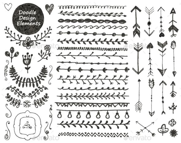 Sunshine flower and arrows doodle border clipart png black and white stock vector floral decor set, collection of hand drawn doodle ... png black and white stock