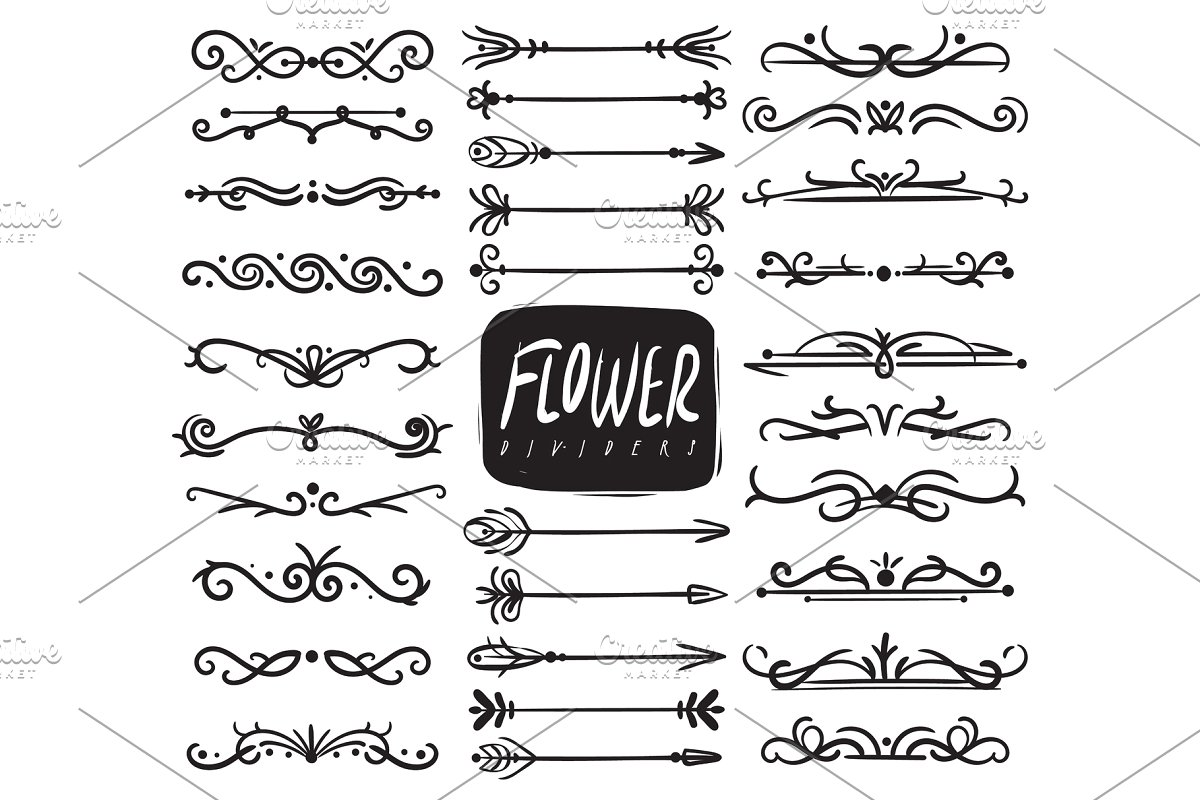 Sunshine flower and arrows doodle border clipart picture freeuse Flower ornament dividers. Ornamental picture freeuse