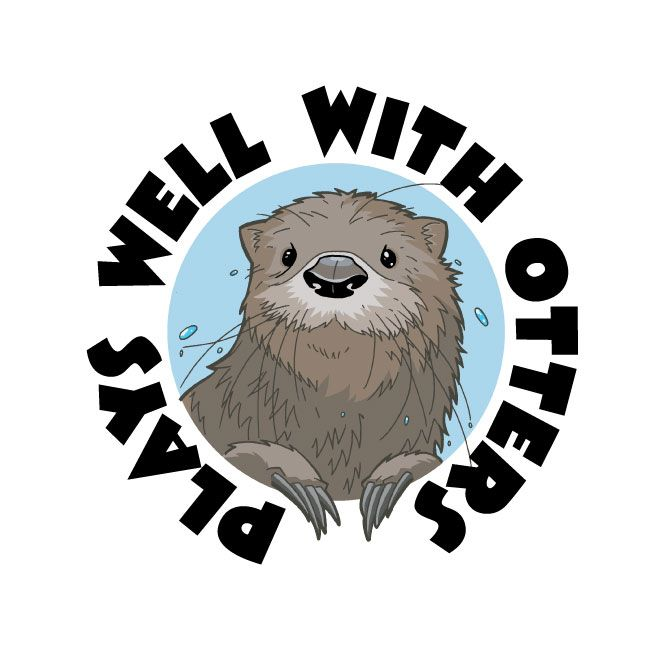 Super cute baby otters clipart