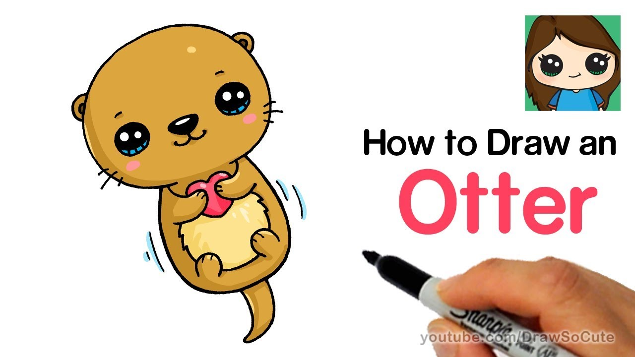 Super cute baby otters clipart clip black and white library How to Draw an Otter Easy and Cute clip black and white library
