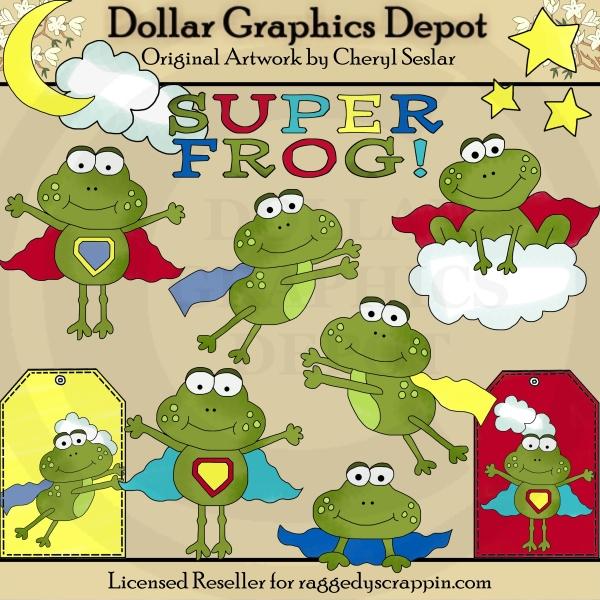Super frog clipart banner free Super Frog - Clip Art - $1.00 : Dollar Graphics Depot, Quality ... banner free