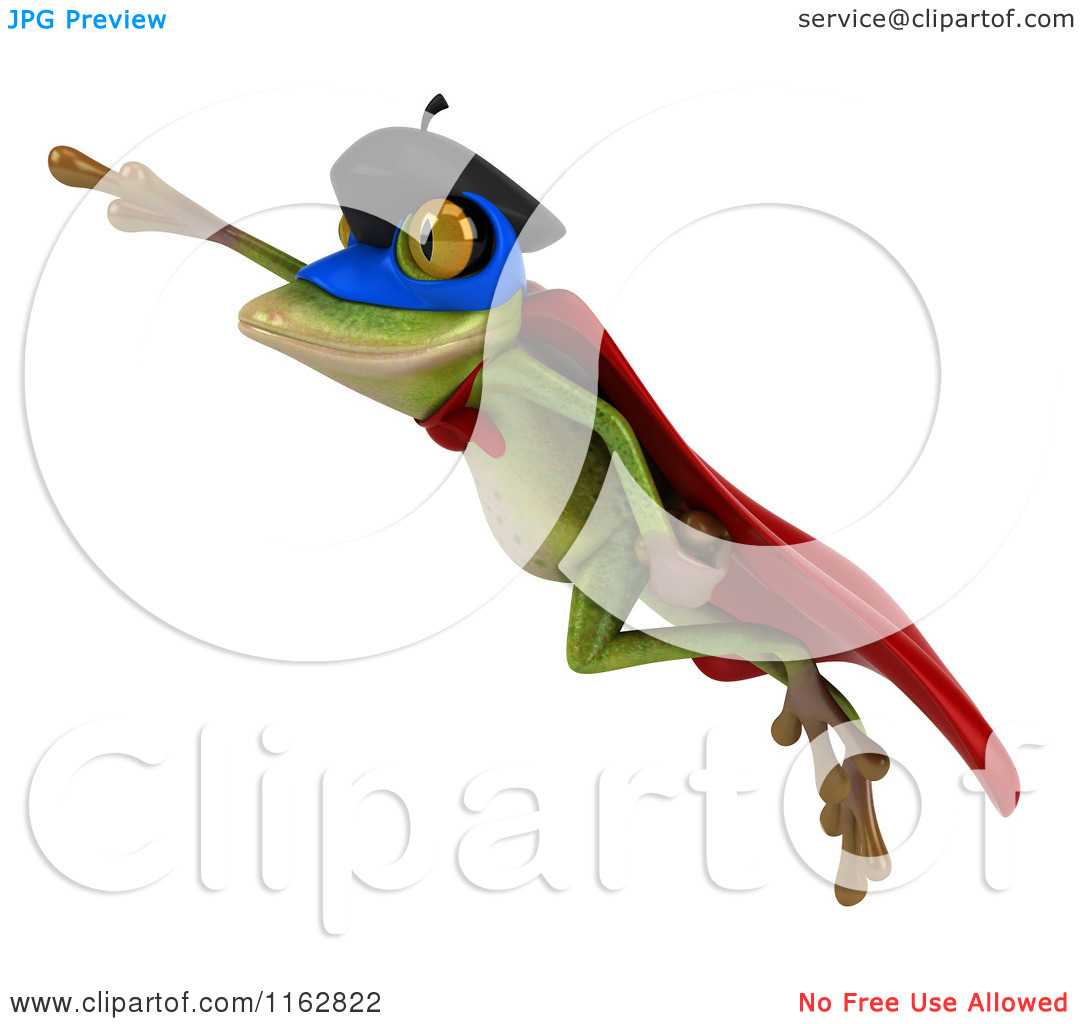 Super frog clipart svg black and white library Clipart of a 3d French Super Frog Flying - Royalty Free CGI ... svg black and white library