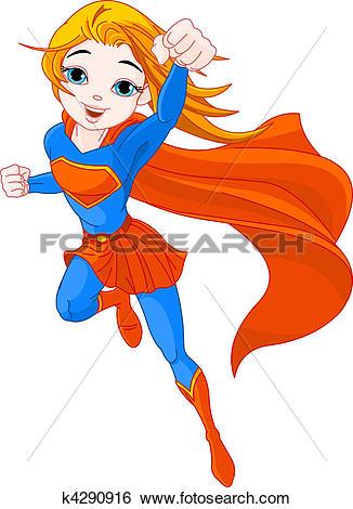 Super girl clipart picture transparent stock Clip Art of Super Girl k4290916 - Search Clipart, Illustration ... picture transparent stock