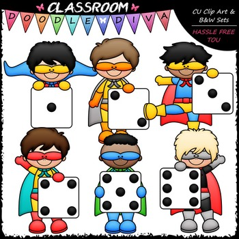 Super hereo math clipart picture free Superhero Dice Boys Clip Art - Math Clip Art & B&W Set picture free