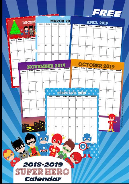 Super hero calendar helper clipart jpg freeuse FREE Super Hero Calendar 2019-2020 | Calendars ... jpg freeuse