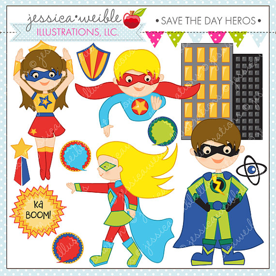 Super hero day clipart picture transparent library Save the Day Heroes Cute Digital Clipart for Commercial or ... picture transparent library