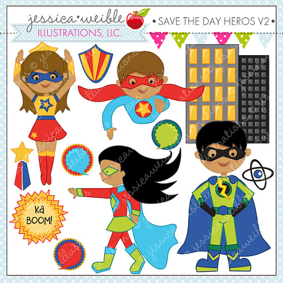 Super hero day clipart clip black and white Save the Day Heroes V2 -Dark Skin - Cute Digital Clipart for ... clip black and white