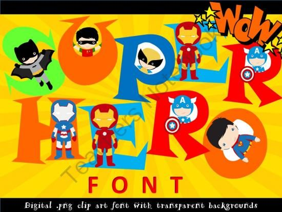 Super hero day clipart graphic free library FONTS - SUPER HERO lettering and number set! - Personal ... graphic free library