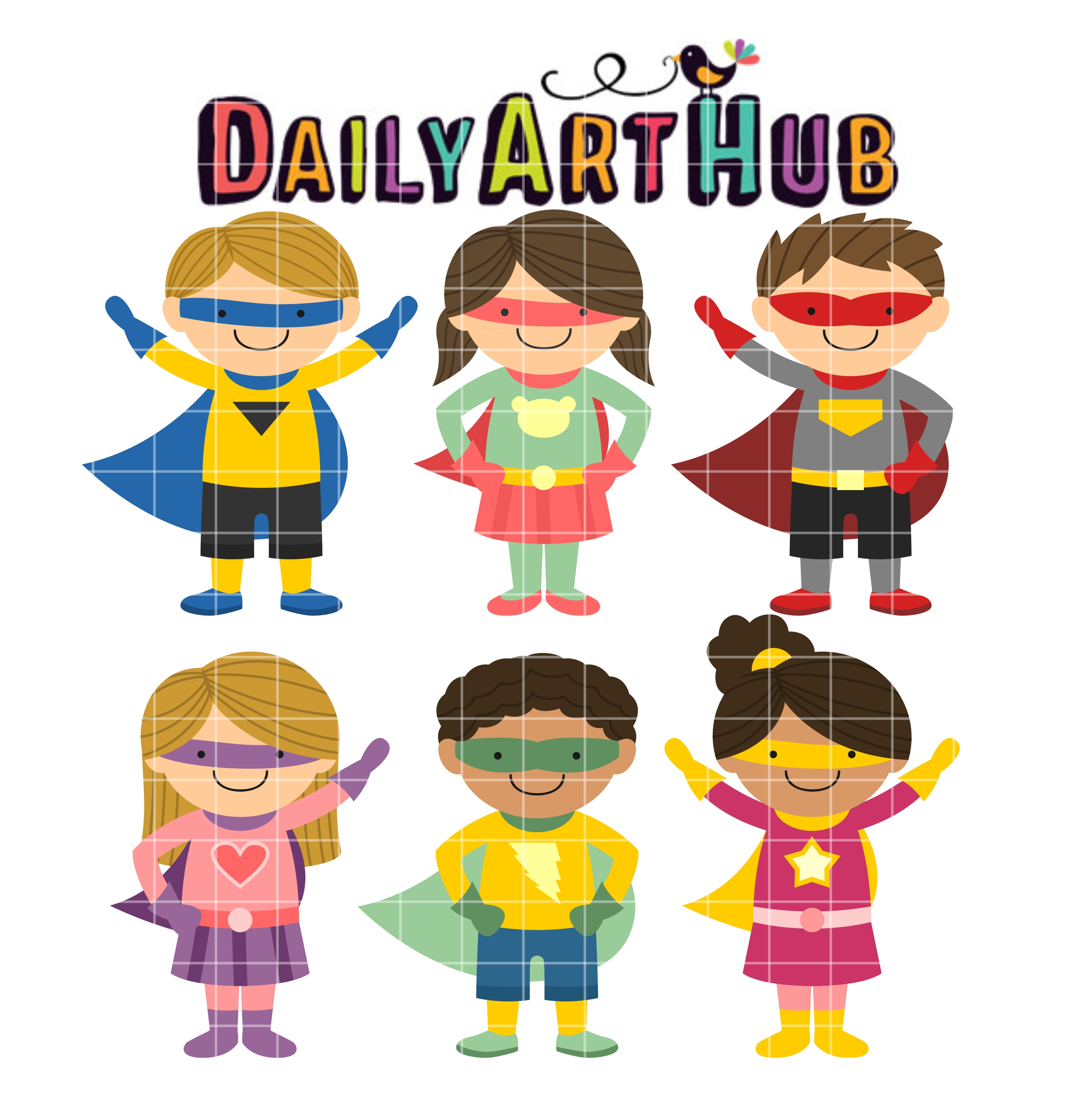 Super hero kids clipart banner freeuse stock Super heroes at table clipart - ClipartFest banner freeuse stock