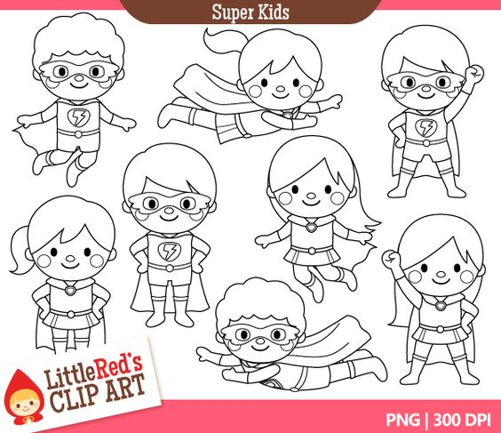 Super hero kids clipart banner royalty free library Imgs For > Superhero Kid Clipart Black And White | Super Heros kid ... banner royalty free library