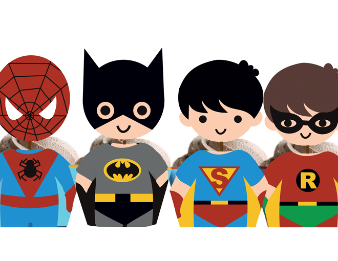Super hero kids clipart banner black and white download Superhero Kids Cliparts - The Cliparts banner black and white download