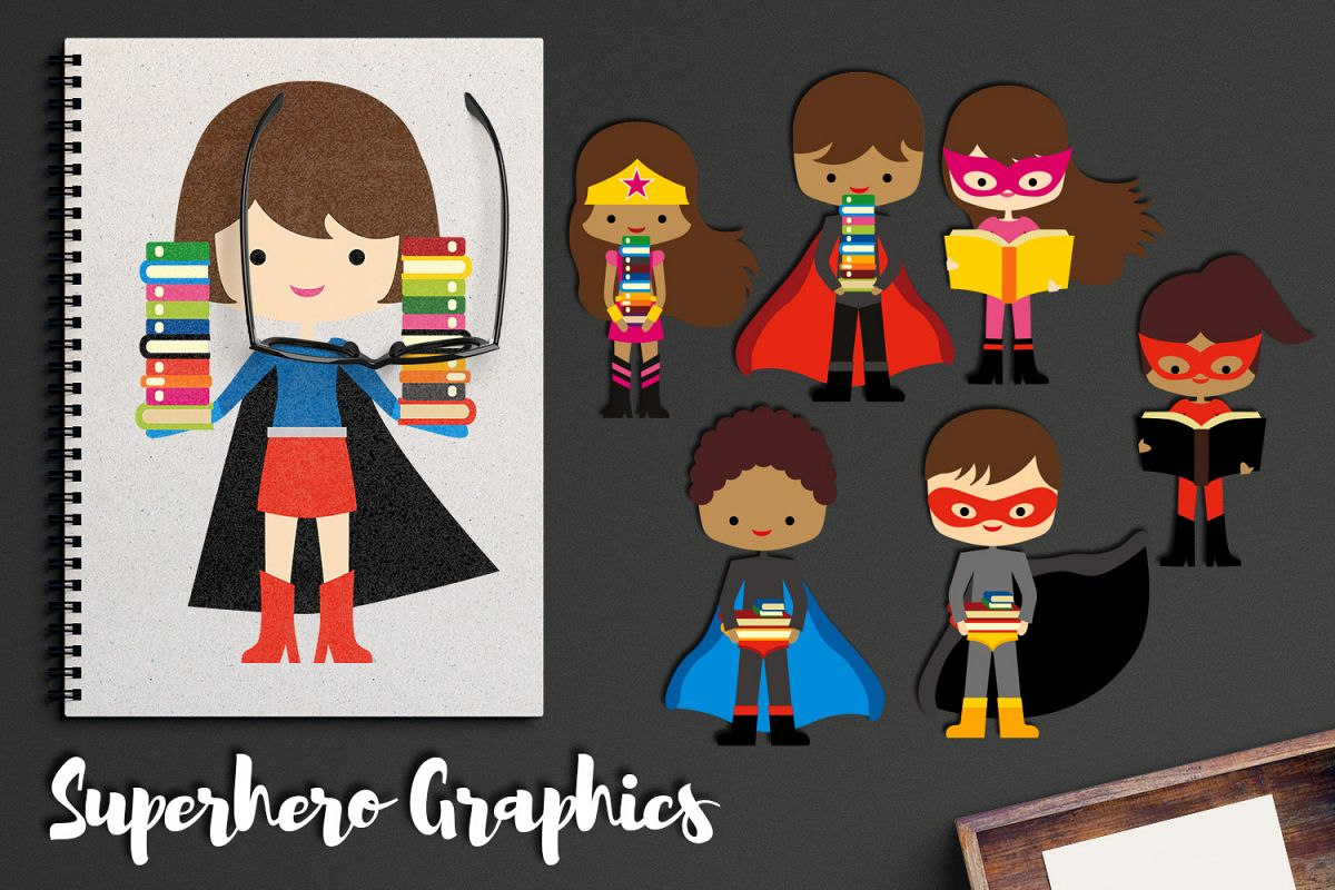 Super hero last day of school clipart royalty free library Brunette Superhero with books clipart, back to school graphi royalty free library