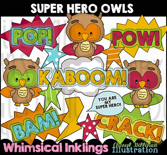 Super hero owl clipart clip art library download Super Hero Owls...Graphic Clipart [Whimsical Inklings] - $1.00 ... clip art library download