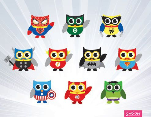 Super hero owl clipart svg free SUPERHERO owl clipart invitation commercial use by 2moon | tattoos ... svg free