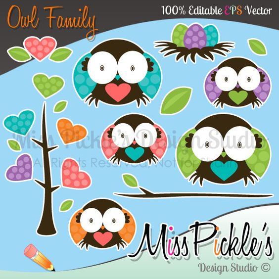 Super high resolution clipart banner freeuse stock This super cute Owl Family clip art set includes separate, High ... banner freeuse stock