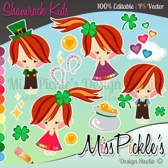 Super high resolution clipart vector free This super cute Shamrock Kids clip art set includes separate, High ... vector free